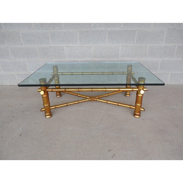 Bamboo Gold Table: Vintage Hollywood Regency Faux Bamboo Gold Gilt Cocktail