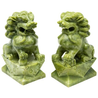 Chinese Carved Jade Stone Guardian Lion Figurines - a Pair For Sale