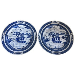 20th Century Pair of Canton Blue and White Plates For Sale