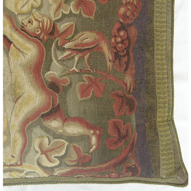 Traditional 16th Century Antique Flemish Tapestry Pillow - 25'' X 21'' For Sale - Image 3 of 5