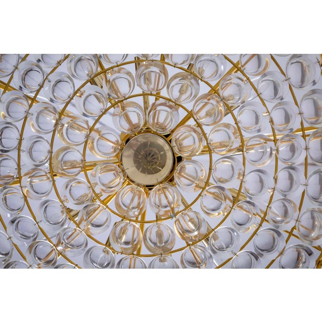 Large Circular Palwa Gilt Brass and Optical Lens Crystal Chandelier (2 Available) For Sale - Image 10 of 12