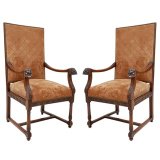 19th C. Italian Walnut Armchairs For Sale