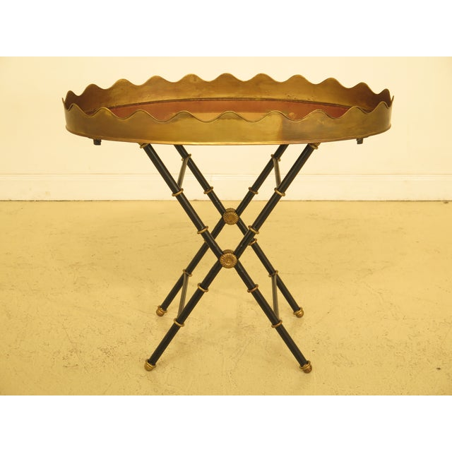 Traditional Sarried Tole Paint Decorated Serving Tray Table For Sale - Image 13 of 13