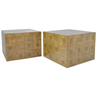Parquet Oak Side or Coffee Tables - a Pair For Sale