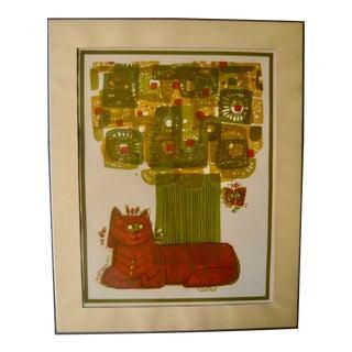 1973 David Weidman Mid-Century Modern Flower Cat Print For Sale