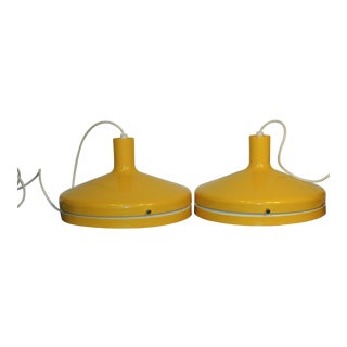 Sunflower Yellow Lightolier Pendants - A Pair