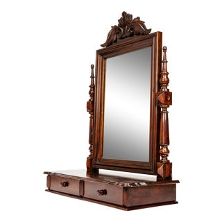 Antique Gentleman's Mahogany Wood Dressing Mirror For Sale