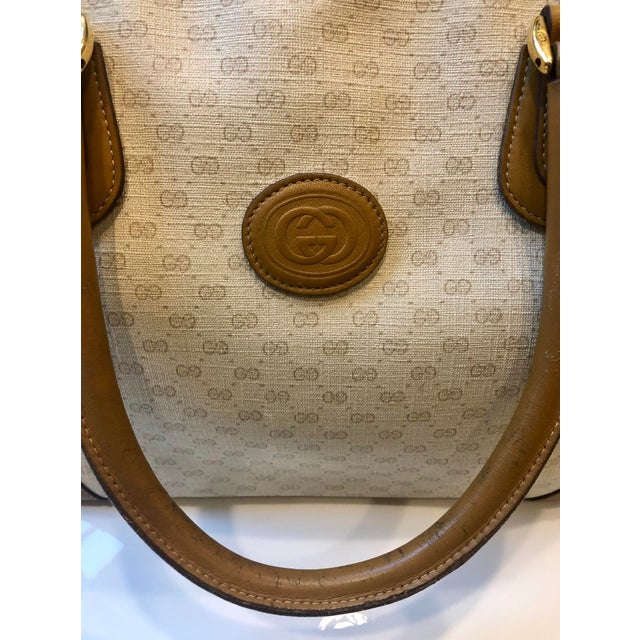 1980s Gucci Canvas Logo Satchel For Sale - Image 11 of 13