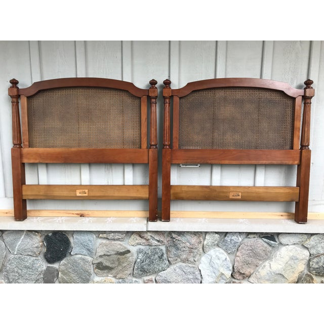 Walnut and Cane Twin Headboards by Kindel Furniture - a Pair For Sale - Image 9 of 10