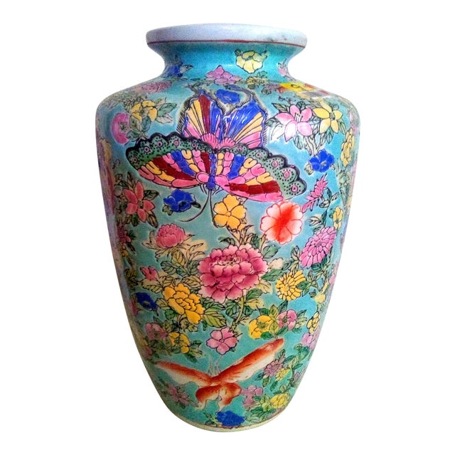 1920's Vintage Chinese Turquoise Famille Rose Vase For Sale