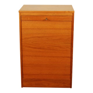 1970s Danish Modern Teak Tambour Door Filing Cabinet
