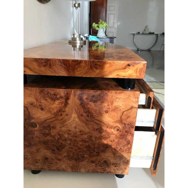"""Memphis classic by PACE Collections. This design was called """"Boca""""; high gloss burl wood and black laquer legs. Stunning..."""
