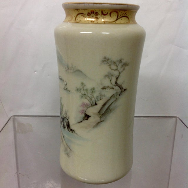 Asian Japanese Arita Hand-Painted Porcelain Vase For Sale - Image 3 of 7