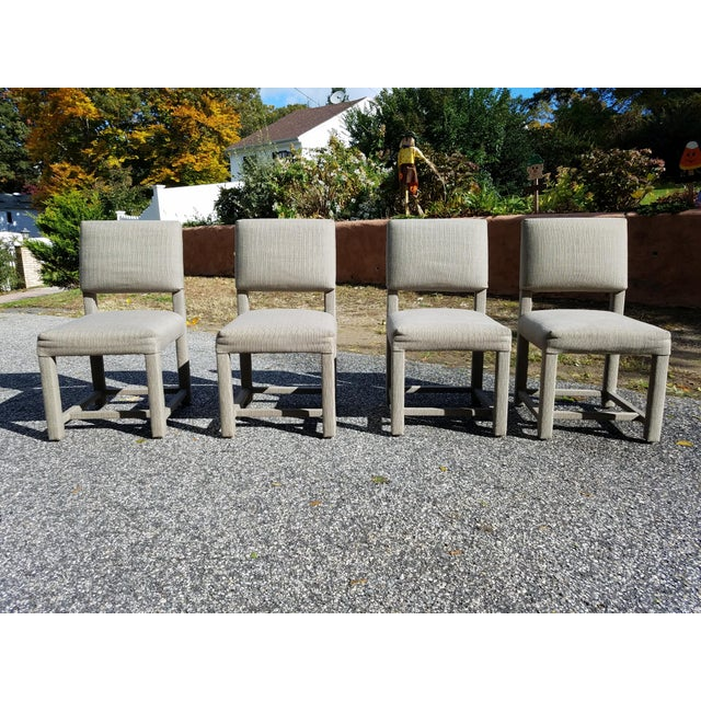 1980s Custom Boris Kroll Fabric Parsons Dining Chairs - Set of 4 For Sale - Image 5 of 5