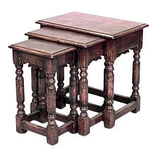 English Renaissance Oak Nest of Tables For Sale