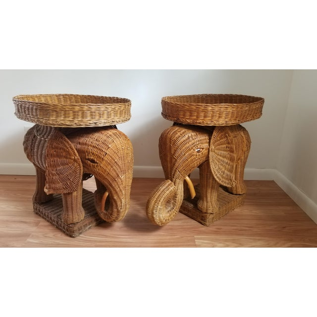 1960s Boho Chic Woven Elephant Tray Tables - a Pair For Sale - Image 10 of 10
