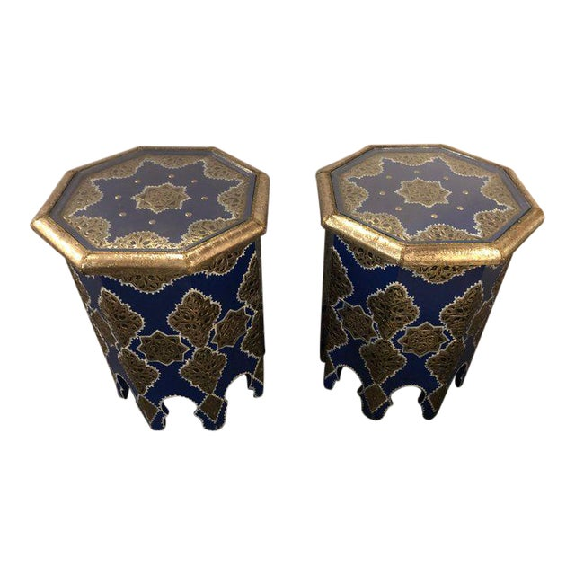Moroccan Silver Metal Brass Inlaid Side Tables - a Pair For Sale