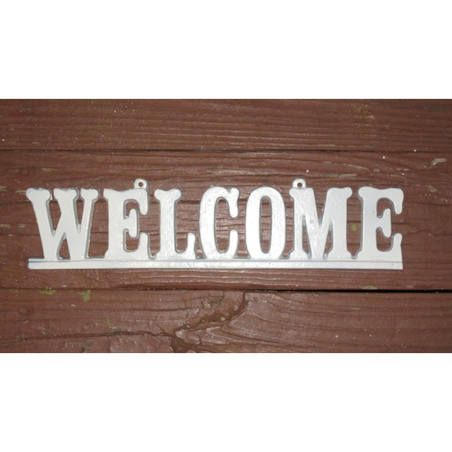 """American Vintage Cast Iron """"Welcome"""" Hanging Sign For Sale - Image 3 of 8"""