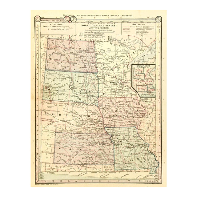 Antique 1889 Map of North Central United States For Sale