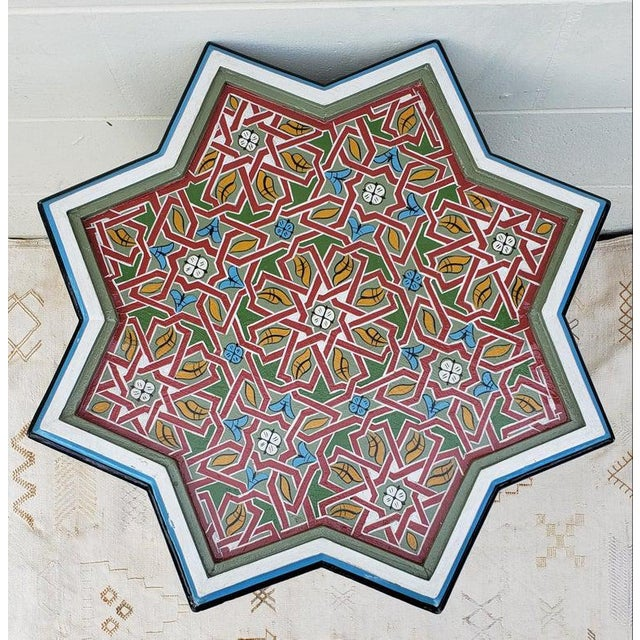 2010s Moroccan Ceuta Painted and Carved Star Table For Sale - Image 5 of 7