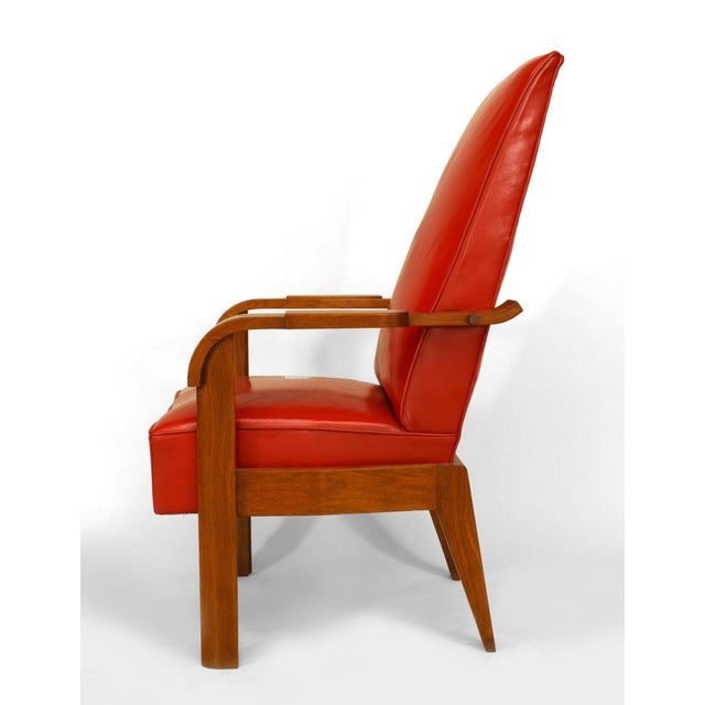 1940s French Oak Red Leather Arm Chair For Sale - Image 5 of 5