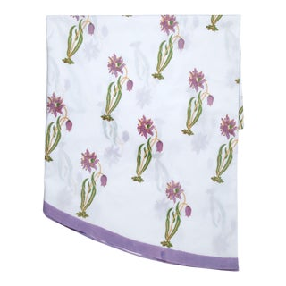 Florence Round Tablecloth - Lilac & Green For Sale