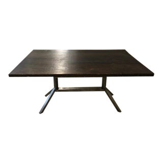 Industrial Dining Table With Dark Stained Reclaimed Wood and Steel Base For Sale