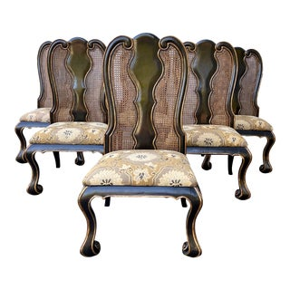 1990s Vintage Large Scale Queen Anne Side Chairs - Set of 6 For Sale