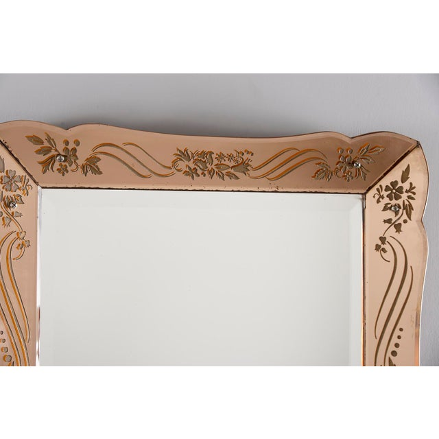 Art Deco Art Deco Era Rectangular Etched Venetian Mirror For Sale - Image 3 of 9