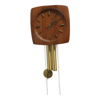 Vintage Mid-Century Danish Modern Teak Brass Weight Driven Wall Clock