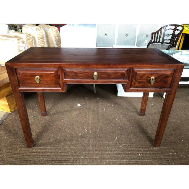 Elm Ming Style Walnut Writing Desk For Sale - Image 7 of 7
