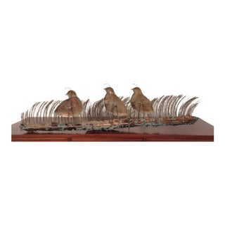 C. Jere Era by Bijan Heavy Copper and Brass Quails/Birds Metal Wall/Table Sculpture Mid Century Modern For Sale