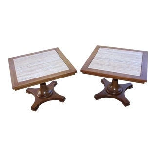 Townsend Manufacturing Co. Dark Travertine End Tables - A Pair For Sale