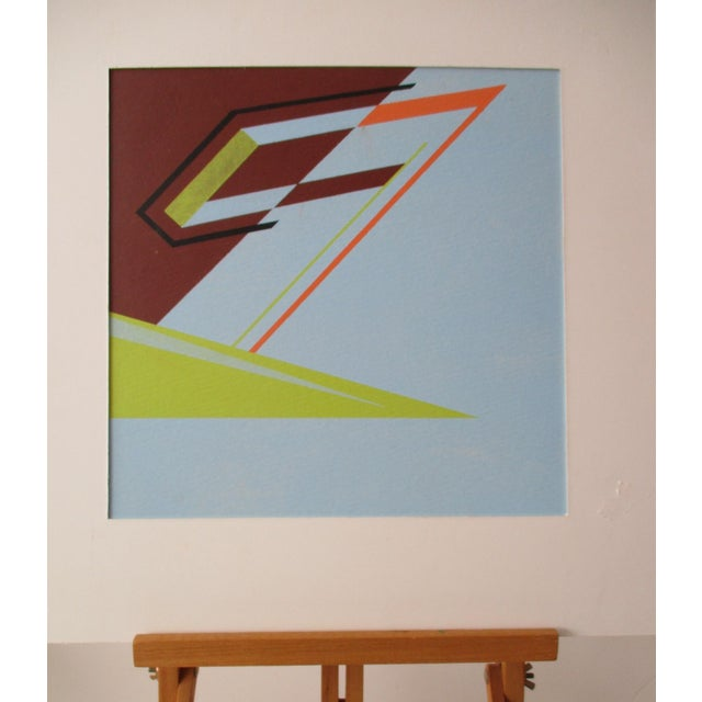 Abstract Geometric Acrylic Painting Hard Edge Style - Image 6 of 8