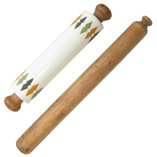 Vintage English & French Rolling Pins, S/2 For Sale