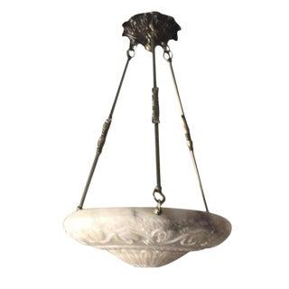 Carved Alabaster & Brass Pendant Light For Sale