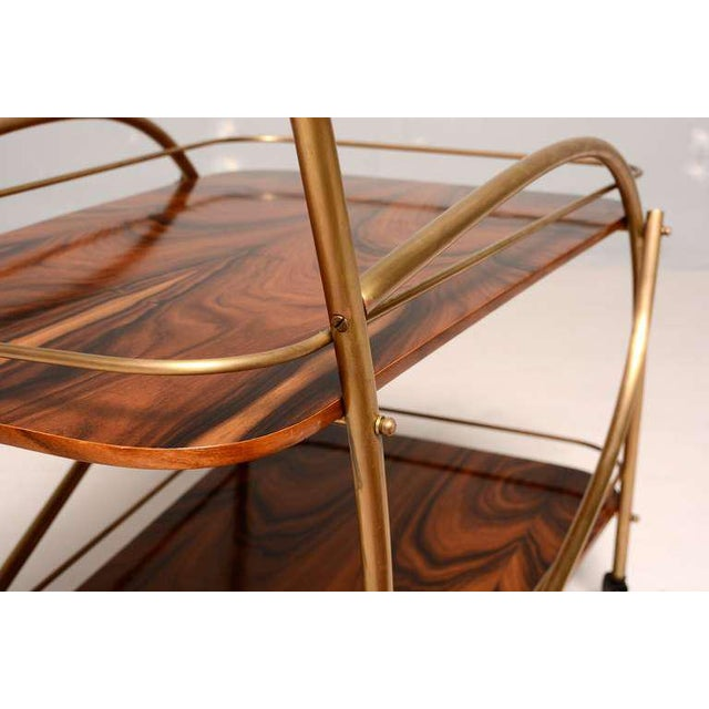 Brazilian Rosewood Double Deck Service Cart For Sale - Image 10 of 10
