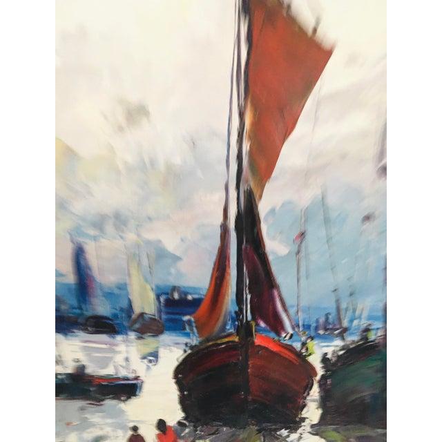 Mid Century Impressionist Oil on Canvas Harbor Scene For Sale - Image 9 of 12