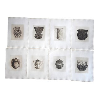 Antique Ltd. Ed. English Pottery Etching-Set of 8 For Sale
