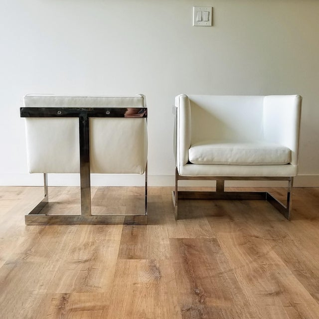 A pair of 1970s 'T Back' cube lounge chairs designed by Milo Baughman for Thayer Coggin. This pair was recently...