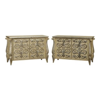 Rococo Style Custom Silver Leaf Foliage 2 Door Commodes Servers - a Pair For Sale