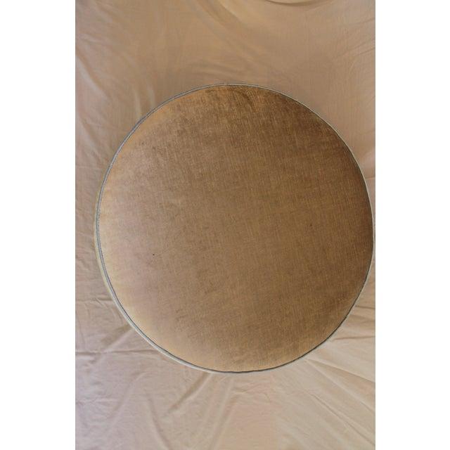 Traditional Round Swivel Velvet Ottoman For Sale - Image 3 of 7