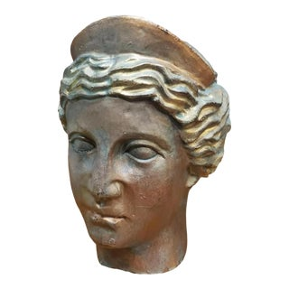 Circa 1900 French Art Nouveau Gilded Bronze Greek Goddess Athena Head Bust For Sale