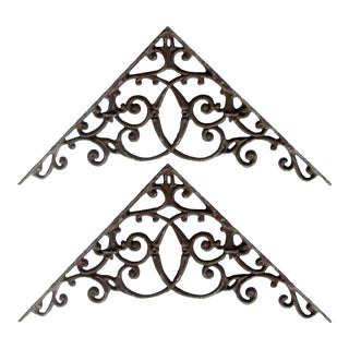Ornate French Iron Brackets, Pair For Sale