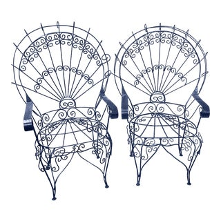 Salterini White Twisted Wrought Iron Peacock Chairs, a Pair For Sale