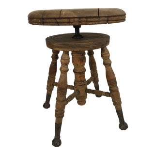 Late 19th Century Adjustable Claw Foot Tortoise Shell Distressed Oak Piano Stool Chair For Sale