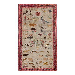 1920s Traditional Red and Brown Animal Detailed Cotton Rug - 4x7'