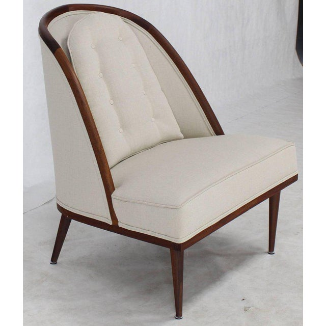 Lacquer Mid-Century Modern Oiled Walnut Frame Barrel Back Lounge Chairs For Sale - Image 7 of 10
