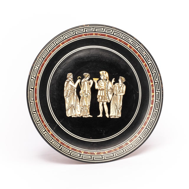 1960s Vintage Greek Plate with Raised Character Relief For Sale - Image 4 of 4