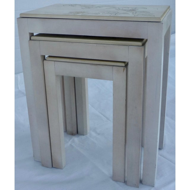 Floral Tile Topped Nesting Tables - Set of 3 For Sale - Image 7 of 11